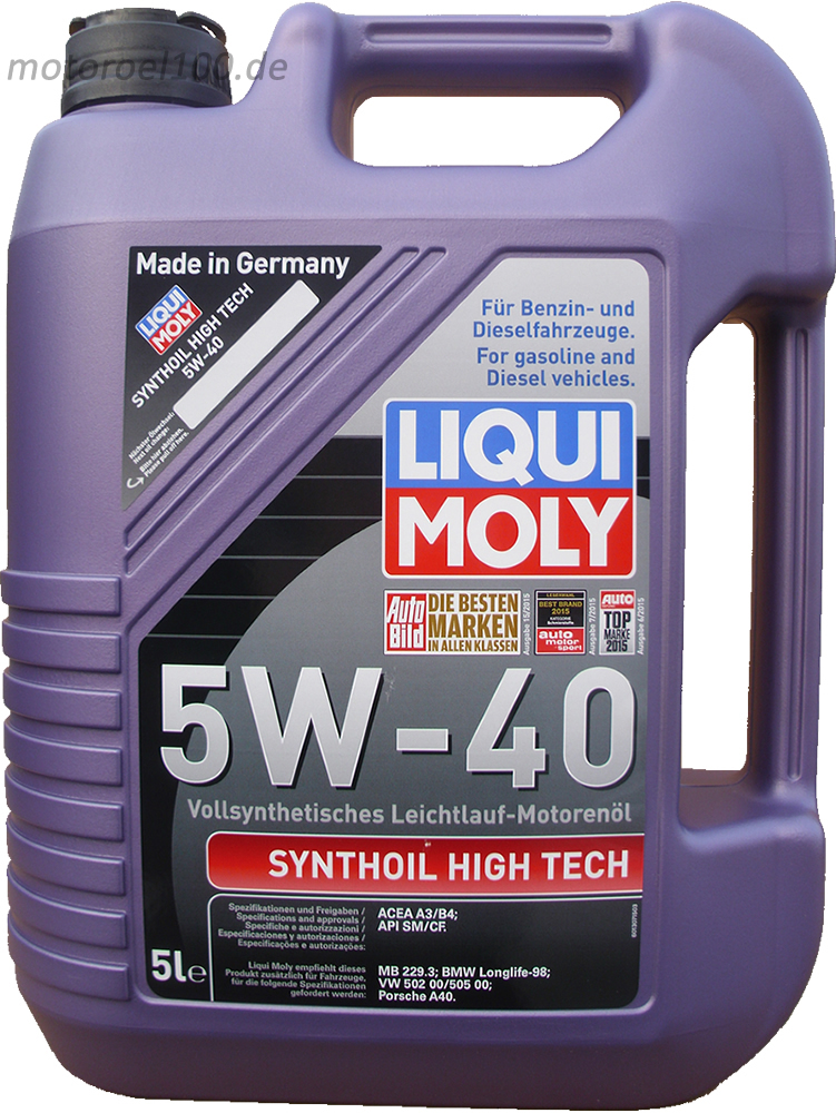 1 x 5 liter liqui moly 5w 40 synthoil high tech motoroel100. Black Bedroom Furniture Sets. Home Design Ideas