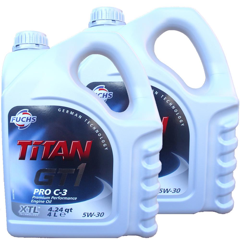 2 x 4l 8 liter fuchs titan 5w 30 gt1 pro c3 motoroel100. Black Bedroom Furniture Sets. Home Design Ideas