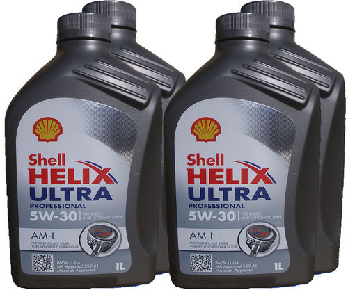 4X 1 Liter Shell 5W-30 Helix Ultra Professional AM-L