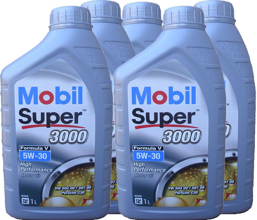 5 x 1 liter mobil 5w 30 super 3000 formula v longlife 3. Black Bedroom Furniture Sets. Home Design Ideas
