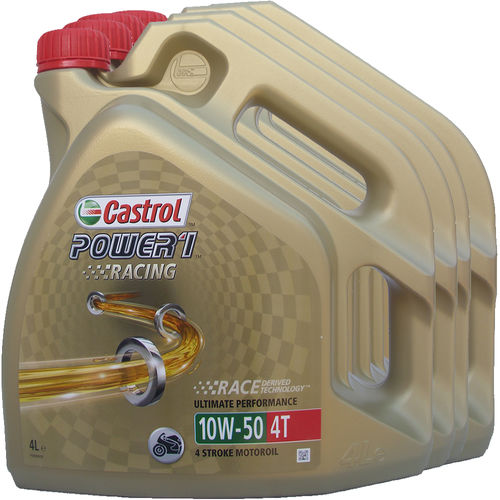 4 X 4L = 16 Liter Castrol 10W-50 Power1 Racing 4T