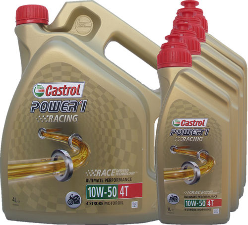 4L + (4X1L) = 8 Liter Castrol 10W-50 Power1 Racing 4T