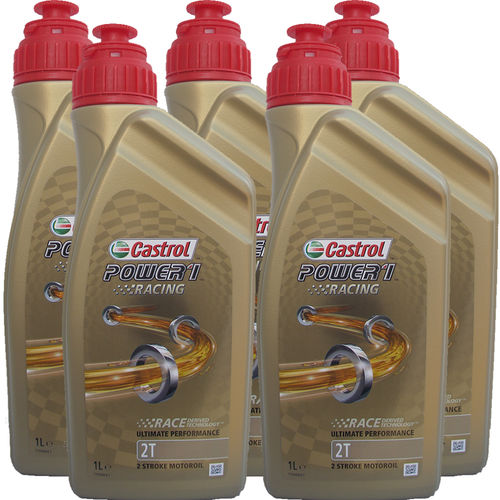 5 X 1 Liter Castrol 2T Power1 Racing