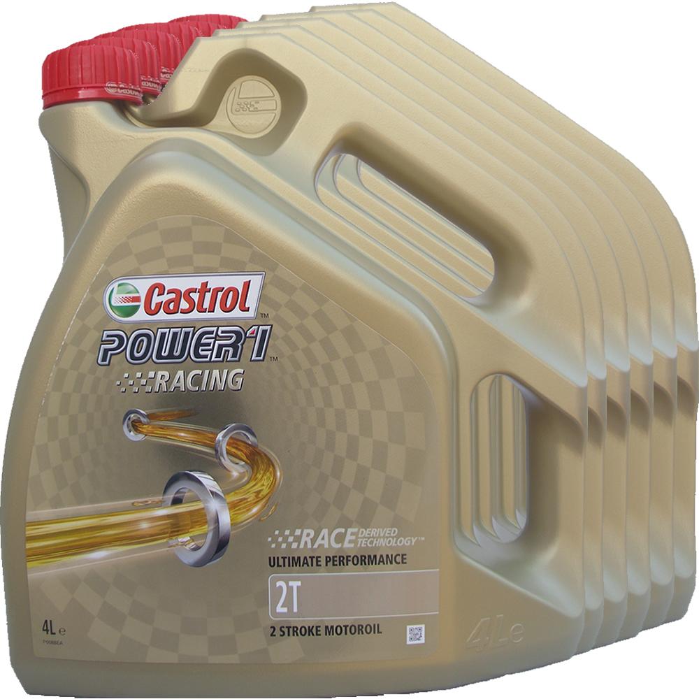 6 x 4l 24 liter castrol 2t power1 racing motoroel100. Black Bedroom Furniture Sets. Home Design Ideas
