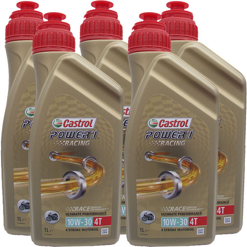 5 X 1 Liter Castrol Power1 Racing 10W-30 4T