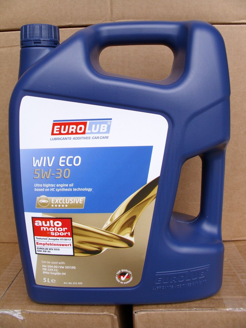 5w 30 eurolub motor l wiv eco 5 liter motoroel100. Black Bedroom Furniture Sets. Home Design Ideas