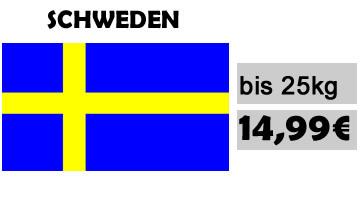 Versandkosten nach Schweden bis 25 kg 14,99€